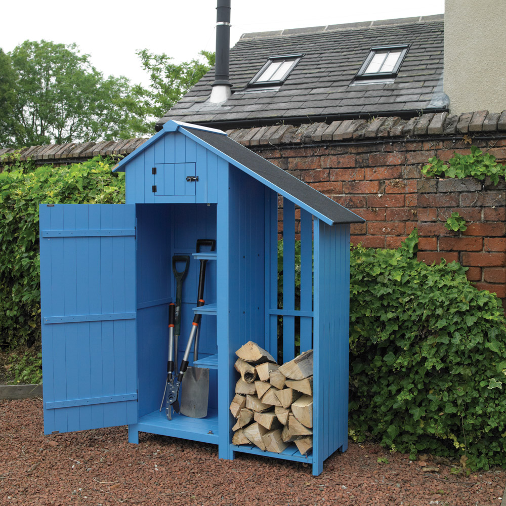 Wooden Garden Shed With Log Store Bonningtons