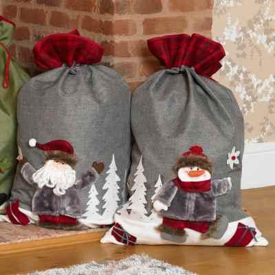 Assorted Velour Santa & Snow Man Sacks
