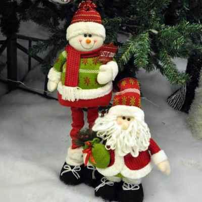 60cm Extendable Leg Snowman and Santa Decoration