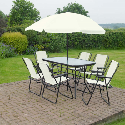 8 Piece Rectangular Garden Furniture Set Cream