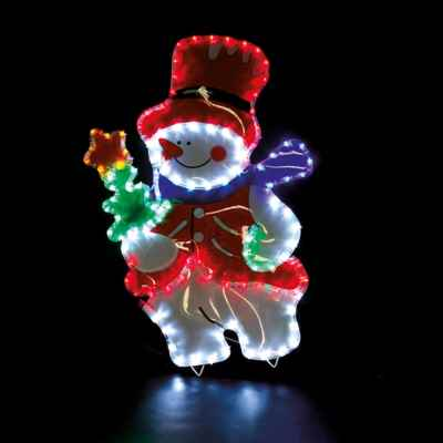 Snow Man Rope Light with Coloured PVC Background