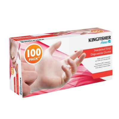 100 Pack Powdered Vinyl Disposable Gloves - Medium