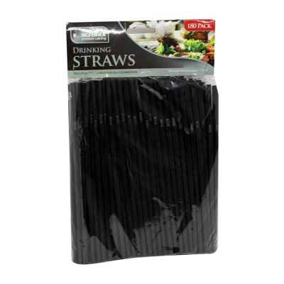 180 Pack of Premium Black Bendy Drinking Straws