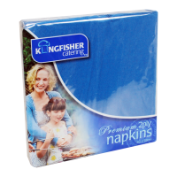 25 Pack 33x33cm Blue 2 Ply Paper Napkins