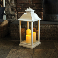 Battery Operated Medium Candle Lantern in White