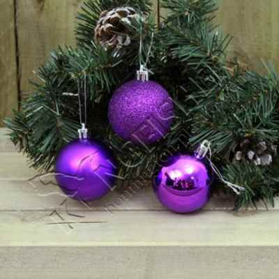 12 pack 6cm Purple Baubles