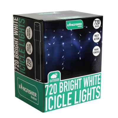 720 Bright White Multi Action Xmas Icicle Lights