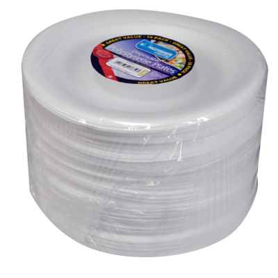 50 Pack 10inch White Disposable Polystyrene Plates