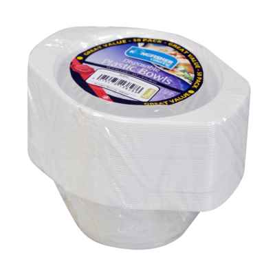 50 Pack 6inch White Disposable Plastic Bowls
