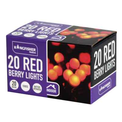 20 Battery Operated LED Red Berry Xmas Lights
