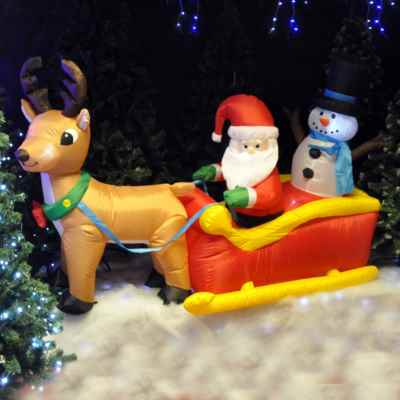 Inflatable Reindeer and Sleigh