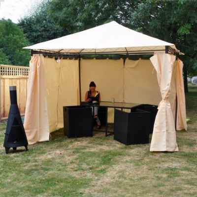 Heavy Duty Garden Gazebo with Side Curtains