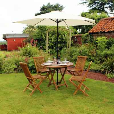 5 Piece Octagonal Teak Table With Folding Chair