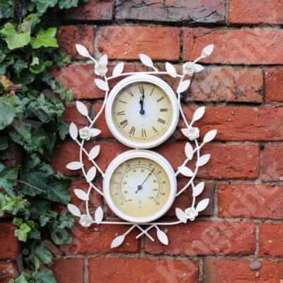 Clock & Thermometer With Flower Detail