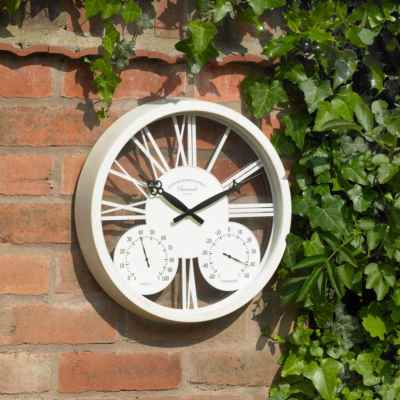 15 Inch White Rosewood Clock & Barometer