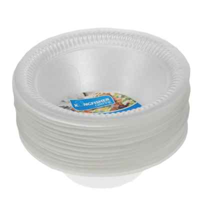12 Pack 6 inch White Polystyrene Disposable Bowls