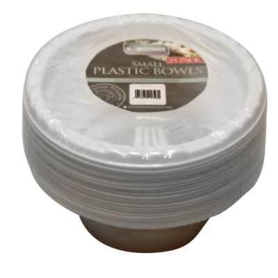 25 Pack of White Plastic Bowls