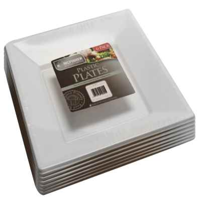6 Pack of Premium White Plastic Square Plates