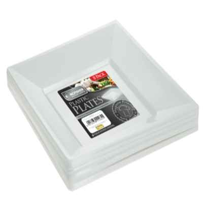 8 x 7inch Square White Plastic Disposable Plates