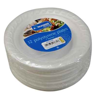 12 Pack 7 Inch Polystyrene Plate