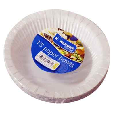 15 Pack of 8 inch White Paper Disposable Bowls