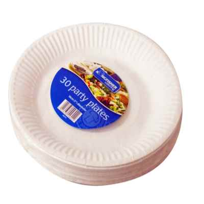 30 Pack of 7 inch White Paper Disposable Plates