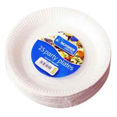 25 Pack of 9 inch White Paper Disposable Plates