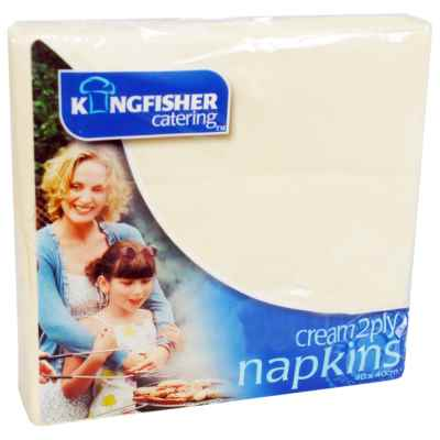 20 Pack 40x40cm 2 Ply Cream Napkin