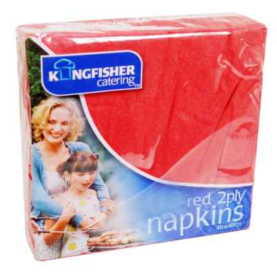 20 Pack 40x40cm 2 Ply Red Napkin