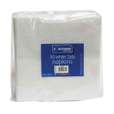 30 pack of 40 x 40cm White 2 Ply Paper Napkins