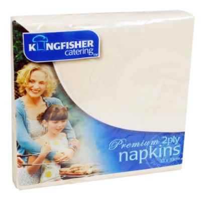 35 Pack of 33 x 33cm 2 Ply Cream Paper Napkins