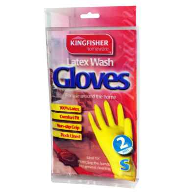 2 Pairs of Household Latex Rubber Gloves - Small