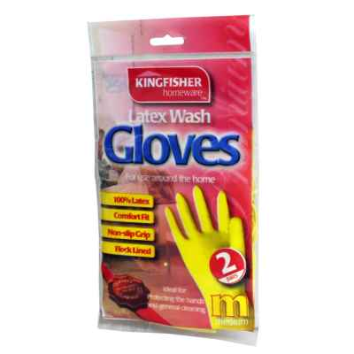 2 Pairs of Household Latex Rubber Gloves - Med