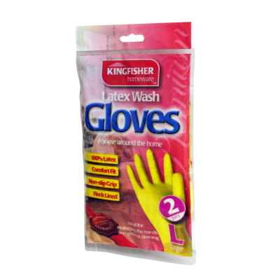 2 Pairs of Household Latex Rubber Gloves - Large