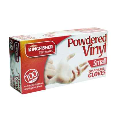 100 Pack Powdered Vinyl Disposable Gloves - Small