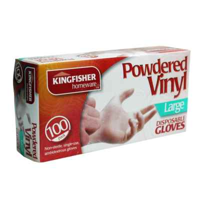 100 Pack Powdered Vinyl Disposable Gloves - Large