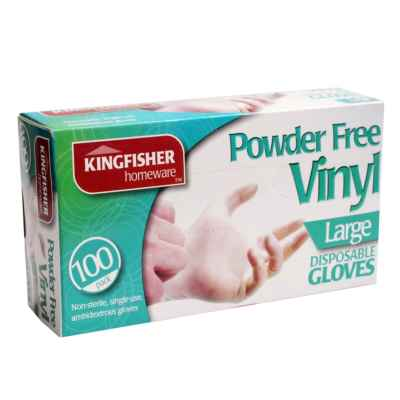 100 Pk Powder Free Vinyl Disposable Gloves - Large