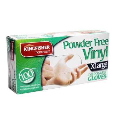 100 Pk Powder Free Vinyl Disposable Gloves - XL