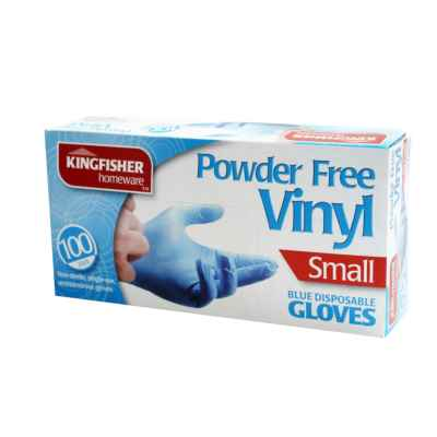 100 Pack Blue Powder Free Vinyl Gloves - Small