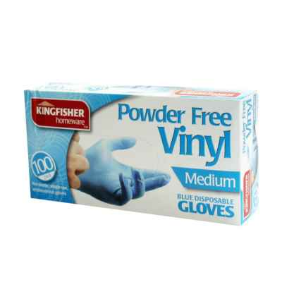 100 Pack Blue Powder Free Vinyl Gloves - Medium
