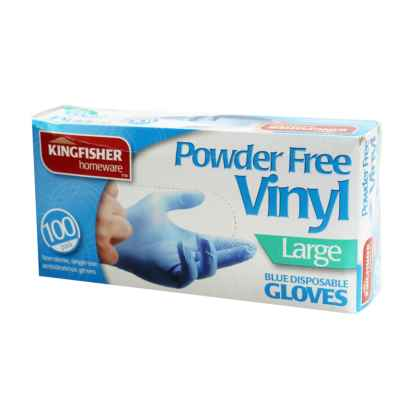 100 Pack Blue Powder Free Vinyl Gloves - Large
