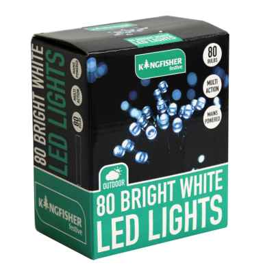 80 Bright White Multi Action LED Christmas Lights