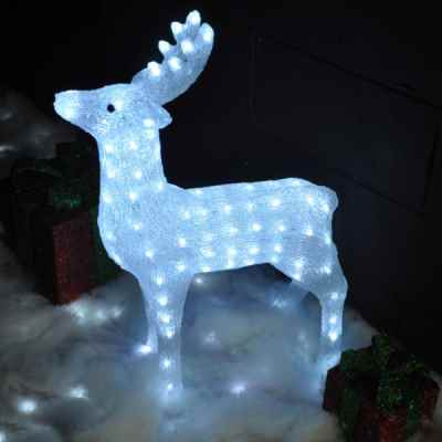 White LED Crystal Effect Christmas Reindeer Light