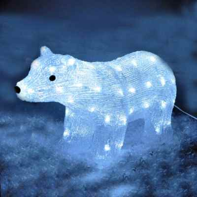 White LED Crystal Effect Polar Bear Light
