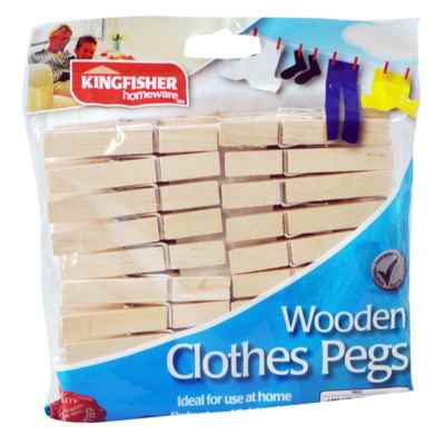 30 Pack Wooden Clothes Pegs