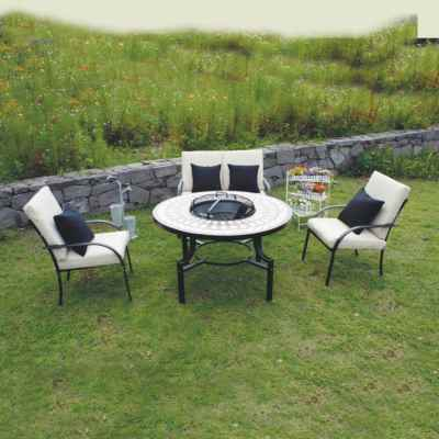 Fire Pit Dining Mosaic Set with cushions