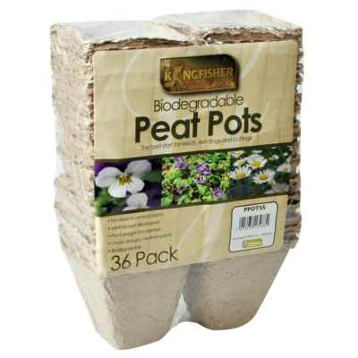 36 Pack 8cm(3in) Biodegradable Square Peat Pots