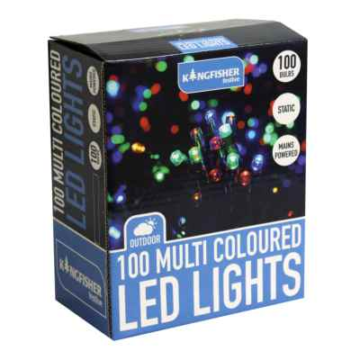 100 Multi Coloured Static LED Christmas Lights