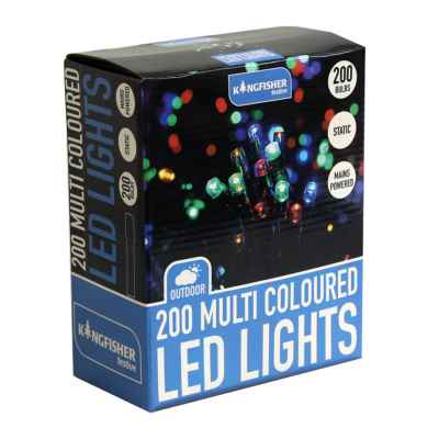200 Multi Coloured Static LED Christmas Lights