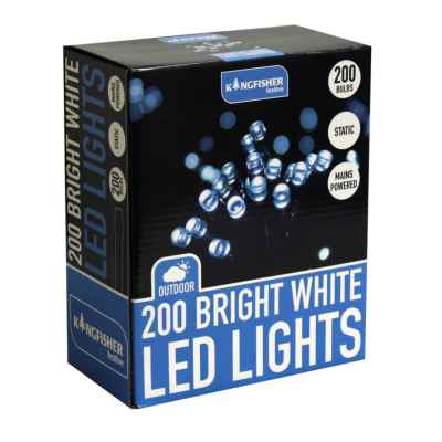 200 Bright White Static LED Christmas Lights
